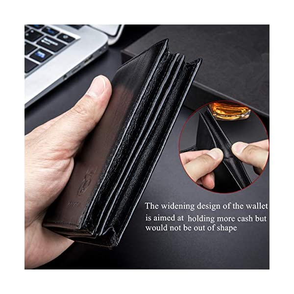 Bullcaptain Large Capacity Genuine Leather Bifold Wallet/Credit Card Holder for Men with 15 Card Slots QB-027 3