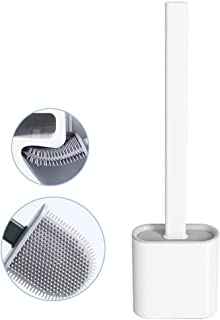 Nutteri Revolutionary Silicone Flex Toilet Brush with Holder,No-Slip Long Handle Toilet Brush with Holder, Standing Holder & Wall Mounting Cleaning Brush Set (White)