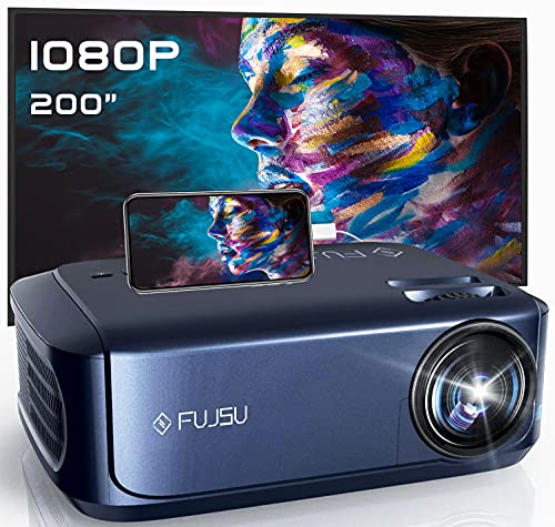 1080P Projector, FUJSU Video Projectors, Full HD Movie Projector for Home Theater Compatible with Laptop, Smartphone, HDMI, Fire TV Stick, PS4, USB