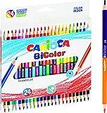 Carioca BI-Color |43031 - Lápices de Madera Triangulares Con Doble Color, 24 Unidades, 48 Colores