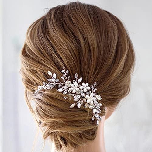 Aukmla Peineta para el pelo de novia, plateada, cristal, estrás, peal, accesorio...
