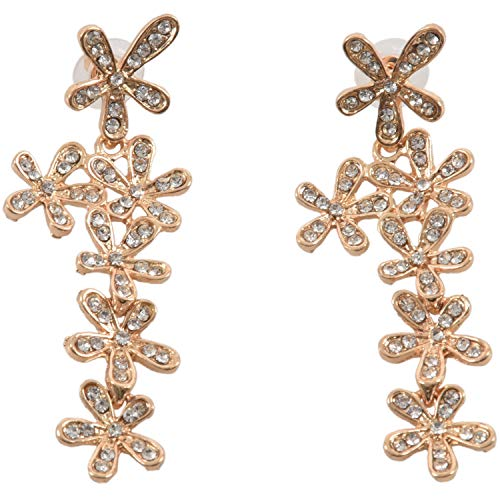 Luntus Pendientes Largo Cristal Diamantes Flores Borla para Boda Fiesta - Oro