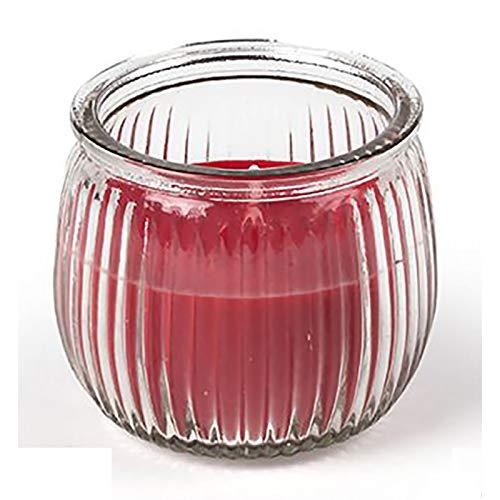 Vela Aromática Pequeña de Cera, en Tarro de Cristal. Diseño Vintage, con Estilo Tropical (7,5cm X 7,5cm X 6,5cm) - Hogar y Más - Rojo