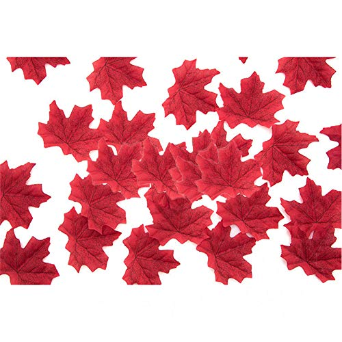 Metermall Games For 50 PCS/Set Simulation Maple Leaves for Wedding Party Festival Decoration Photo Props... 12th wine red (50 pieces)