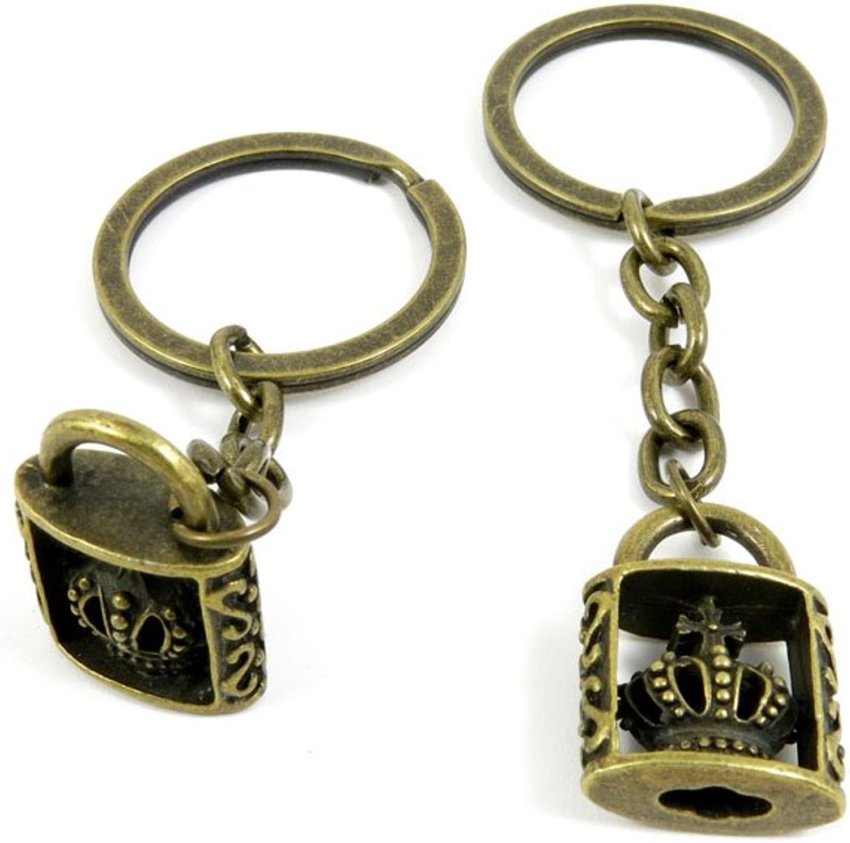 120 Pieces Fashion Jewelry Keyring Keychain Door Car Key Tag Ring Chain Supplier Supply Wholesale Bulk Lots B4BO5 Crown Lock