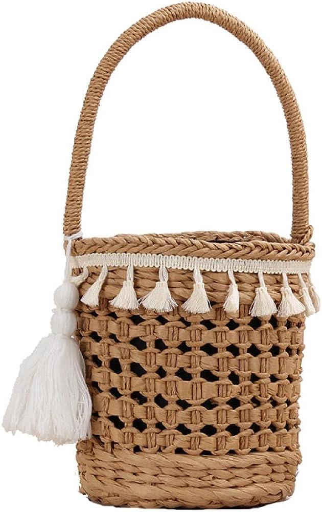 Handmade Tassel Max 41% OFF Women's Handbag Bucket B Bag Summer Hollow Woven Washington Mall