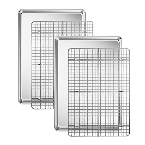 Baking Sheet with Cooling Rack Set [2 Sheets + 2 Racks], Deedro Stainless Steel Cookie Half Sheets Baking Pan Oven Tray with Rack, 17.3 x 12.3 x 1 Inch, Heavy Duty, Non-toxic, Easy Clean