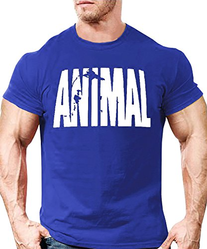 Heren Animal trainingspak T-shirt fitness korte mouwen muscle shirt bedrukt thee