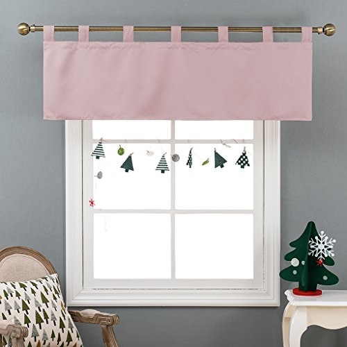 NICETOWN Room Darkening Valance for Baby's Room, 52-inch by 18-inch Tab Top Valance Window Curtain (Baby Pink, Single Piece)