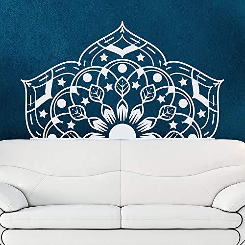 YuanMinglu Yoga Studio Wandtattoo Mandala Blume Schlafzimmer Home Wanddekoration Vinyl Kunst Wandtattoo Weiß 72x42cm