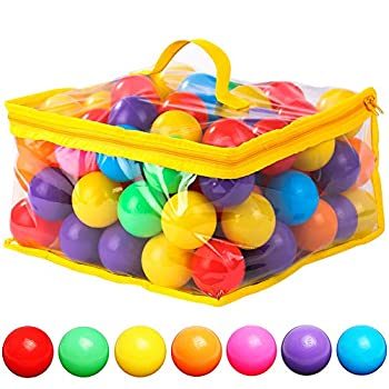 120 Count 7 Colors BPA Free Crush Proof Plastic Balls for Ball Pit Balls for Toddlers Kids 2.2 Inches Balls Toys