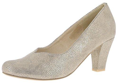 Hirschkogel Damen Pumps 3004536 Trachtenschuhe | Oktoberfestschuhe | Dirndlschuhe T-Strap || Spangenpumps | Schuhe zum Drindl | Schuhe zur Lederhose | Pumps zur Jeans, Größe:39 EU, Farbe:Gold