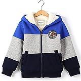 Toddler Boy's Sherpa Fleece Lined Jacket,Blue Spring Fall Winter Zip up Sweatshirt Hoodie 3t