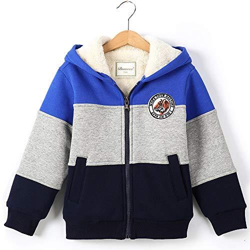 Toddler Boy's Sherpa Fleece lined Jacket,Blue Spring Fall Winter Warm Sweatshirt Hoodie 5t (120)