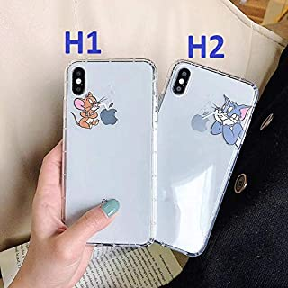 Simple Cute Cartoon Tom Jerry Mouse pet Clear Phone Cover for iPhone 7 8 6 6s Plus X XS Max XR Shockproof Silicone Case (H1, for iPhone 7/8)