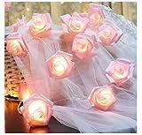 Luces de Cadena de Rosas LED, 20 Luces de Hadas de Flores Blancas para Interiores Luces de Cadena Románticas con Pilas para Bodas, Festivales, Cumpleaños, Interiores, Exteriores,Decoraciones de Jardín
