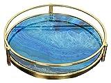 Trays Plateau de décoration de Table Basse, Plateau de Porte-Bougies, Plateau de décoration en céramique en marbre...
