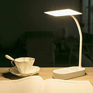 Rechargeable Battery Powered Led Desk Table Lamp Home Office, Adjustable Reading Book Light for Kids Study in Bed Bedroom Bedside Headboard, PortableTouch Dimmable Reading Lamp USB Charging Port White