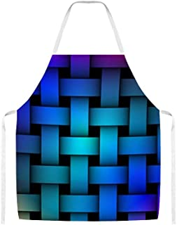 PotteLove Kitchen Cooking Apron Soft Chef Aprons for Women Men - Colorful Rainbow Basket Weave Unisex Apron for Crafting BBQ Drawing Outdoors