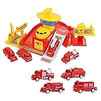 boxoon エンジニアリングトラックプレイセットライトアップDIY駐車場車のおもちゃ建設駐車場おもちゃ車の駐車場ガレージおもちゃ