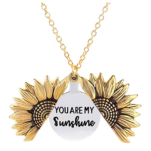 You are My Sunshine Necklace Sunflower Locket Necklace Pendant for Women Girls