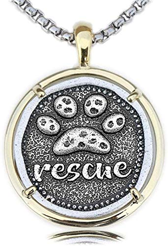 NC190 Collar con Estampado de Pata, Collar de Doble Color para Hombre, Colgante para Amante de los Perros, Regalo conmemorativo de Rescate para Mascotas, Metal de Cobre