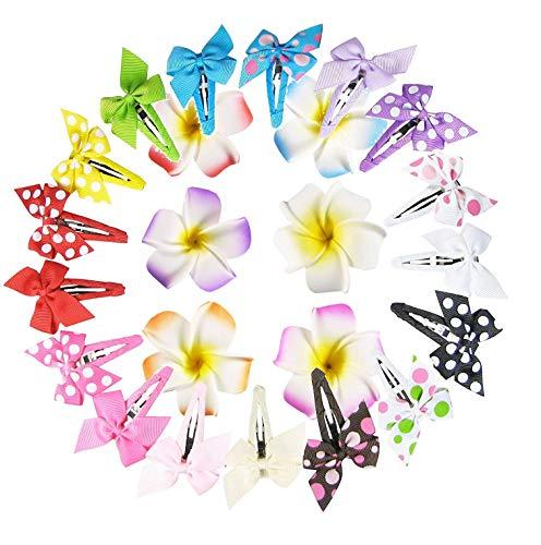 Bundle: 17pc 2in Pinwheel Bow Snap Hair Clips + 6ct Hawaii Hair Flower Clips