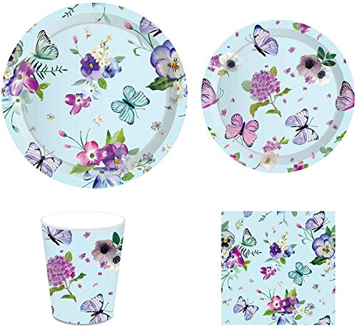 Butterflies Party Supplies – Serves 8 – Includes Plates,...