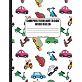 COMPOSITION NOTEBOOK WIDE RULED: Paper Journal for Kids, Girls and Boys, Teens, Students and Teachers | For School and Homeschooling | Crazy Cars Cover