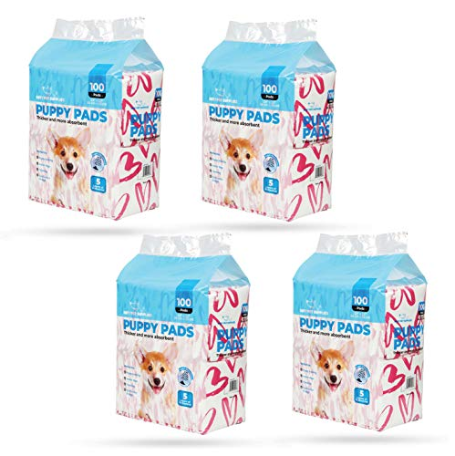 Best Pet Supplies Puppy/Training Pads - Pink Heart, Pack of 100 x 4 (VPP-400-PH)