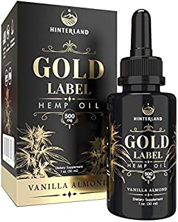 Hemp Oil Extract Drops for Pain, Stress, Anxiety Relief, Anti-Inflammatory, Deep Sleep, Mood Support - Organic Grown in USA - Full Spectrum 500mg - Vanilla Almond Flavor