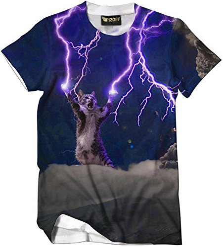 (ピゾフ)Pizoff メンズ 猫柄 Tシャツ 丸首半袖 ネコ柄 イナズマ柄 原宿系 おもしろ 個性的 快適 カジュアル V系 男女兼用 トップス Y1625-36-XL