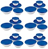 6 Pack Sterilite 07479406 8-Piece Plastic Kitchen Covered Bowl/Mixing Set w/Lids