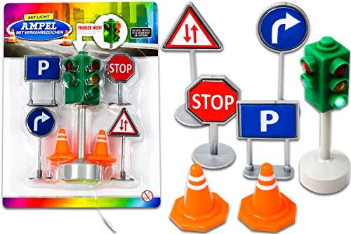 Trendario Kinder Verkehrsschilder Spielzeug, 7-teiliges Verkehrszeichen Set, Straßenschilder Spielzeug und Ampel mit Lichtfunktion