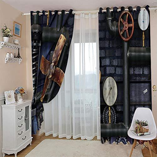 RXWZRL Cortinas Opacas Habitacion Infantil 3D Pipa Industrial Retro De Feng Shui Estampadas Cortinas Dormitorio Salon Con Ojales Para Hogar Decoración Termicas Aislantes Frio Calor 100X160 Cm