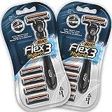 BIC RAZORS Flex3 Hybrid Kit De Maquinillas Para Hombre - Mangos Y 8 Recambios Negro 260 Gr - Pack de 2