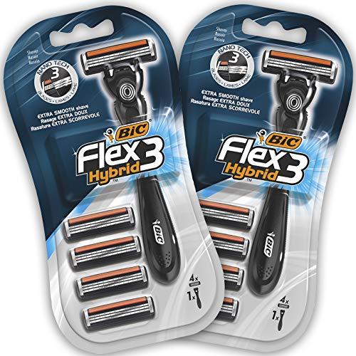 BIC Flex 3 Hybrid Rasierer Herren, Nassrasierer mit 4 Wechselklingen mit je 3 Klingen, 2er Pack, mit Aloe Vera und Vitamin E für eine sanfte Rasur