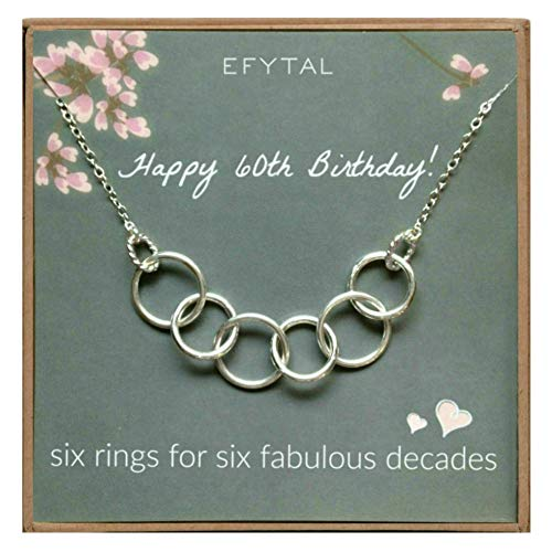 EFYTAL Happy 60th Birthday Gifts for Women Necklace,...