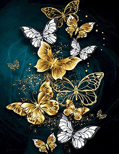 DIY Oil Painting Paint by Number for Adults Kids Beginner 16x20 inch,Butterfly Drawing with Brushes Christmas Decor Decorations Gifts (Without Frame)