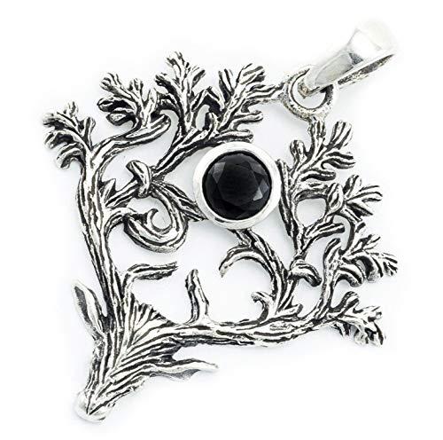 WINDALF Bohemia Silber-Amulett RADJUR 4.4 cm Celtic Anhänger Hirsch Schwarzer Kristall Trachtenschmuck Britischer Silberanhänger 925 Sterlingsilber