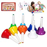 Handbells, 8 Note Musical Hand Bells Set with 10 Songbook Musical Toy Percussion Instrument for Toddlers Children Kids Adults for Family Activity School and Church, by TantivyBo