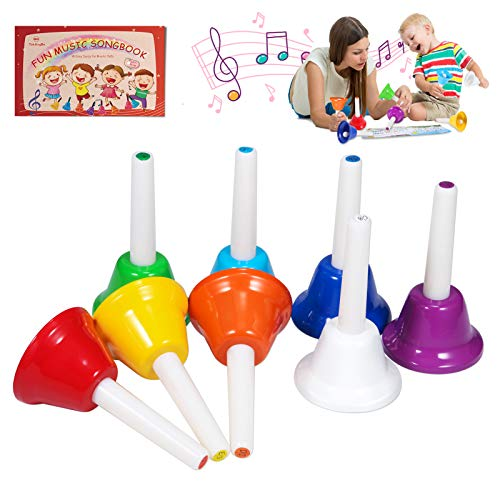 Hand Bells, 8 Note Musical Handbells Set with 10 Songbook Musical Toy Percussion Instrument for Toddlers Children Kids Adults for Children's Day Family Activity School and Church, by TantivyBo