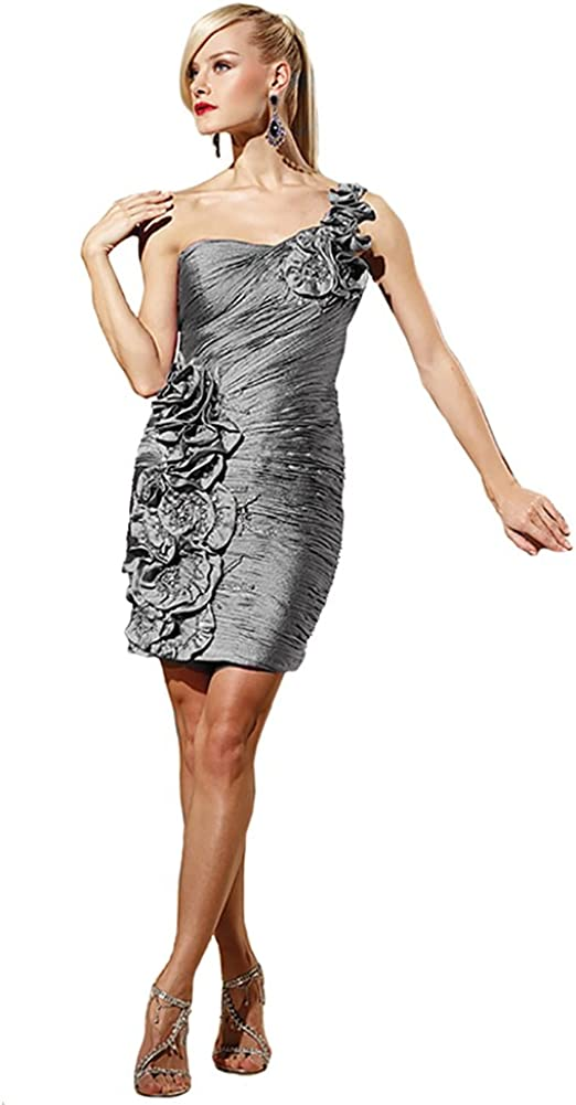 Terani 35053C, Ruched Cocktail Dress with Flowers