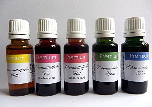 5er SET Lebensmittelfarbe EXTREM hochkonzentriert in 10 ml Tropferflaschen. Für Lebensmittel, Backen, Getränke, Liquids usw.- Deutsches Produkt !