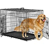BMS Dog Crate Dog Kennel for Large Medium Dog Crate Folding Metal Dog Crate Indoor/Outdoor Double Door Travel Metal Dog Crate with Plastic Tray (48 inch)