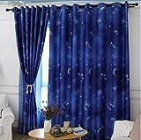 HHJJ Cortinas opacas para niños, sala de estar simple y moderno sombreado universo estrella, azul 2 paneles -81379B7G7K (tamaño: 137 x 175 cm)