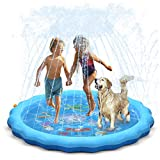 QPAU Splash Pad, 68' Sprinkler for Kids Dogs, Kiddie Baby Shallow Pool,Outside Toys Water Toys for Kids, Outdoor Toys for Toddlers Age 3-5 (Blue)