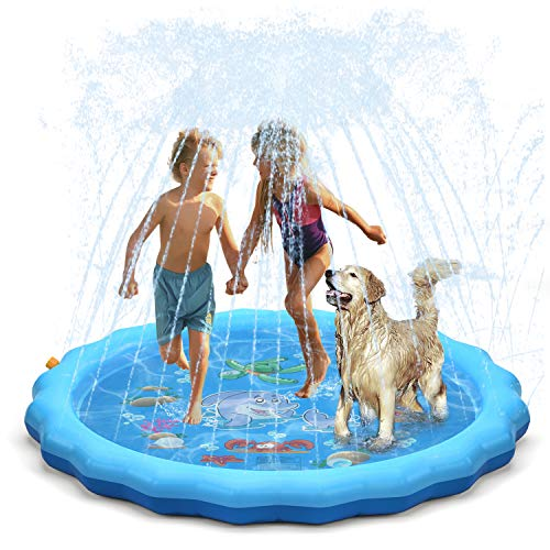 QPAU (Upgraded 2020 Version) Sprinkler for Kids Dogs, 68' Sprinkle and Splash Play Mat , Kiddie Baby Shallow Pool,Outside Toys Water Toys for Kids, Outdoor Toys for Toddlers Age 3-5 (Blue)