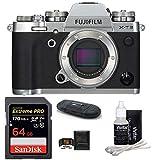 FUJIFILM X-T3 Mirrorless Digital Camera Bundle (Body with 64GB Bundle, Silver)