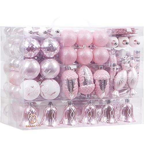 Sea Team 155-Pack Assorted Shatterproof Christmas Ball Ornaments Set Decorative Baubles Pendants with Reusable Hand-held Gift Package for Xmas Tree (Pink, 155)
